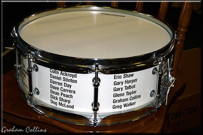 Graham Collins - Carrera Drums 'Stick It To MS' Commemorative Snare Drum - Jobeky UK Custom Drum Festival 2009