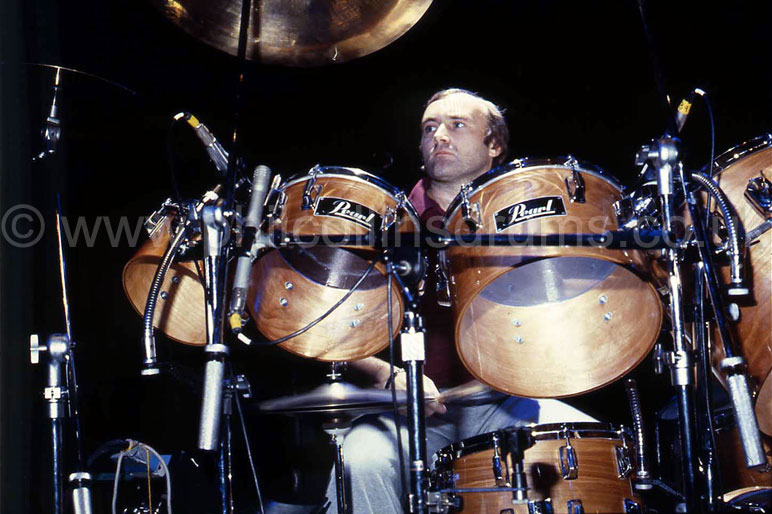 Phil Collins Pearl BLX  Birch Custom Concert Tom Kit - Pearl Promo Shoot 1982 - Image © Pearl Drums